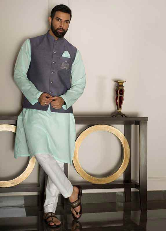 Blue waistcoat with sky blue and white kurta pajama designs 2017 for men in Pakistan