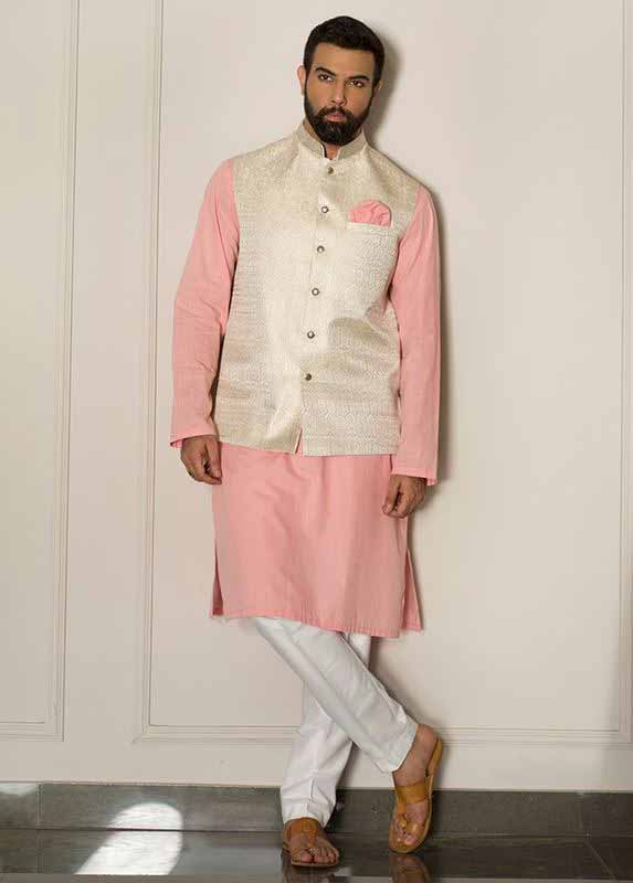 Off white waistcoat with light pink and white kurta pajama designs 2017 for men in Pakistan