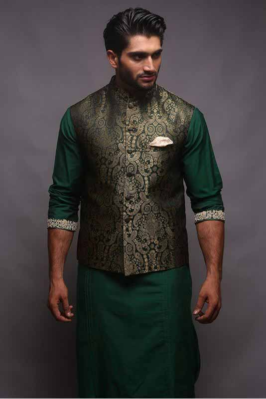 Jamawar waistcoat with green kurta pajama designs 2017 for men in Pakistan