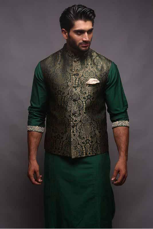 Jamawar waistcoat with green kurta pajama designs 2017 for men in Pakistan