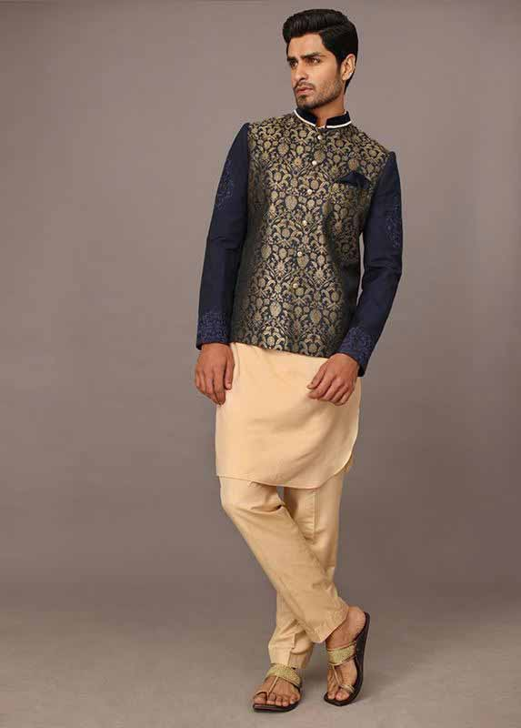 Blue waistcoat with skin kurta pajama designs 2017 for men in Pakistan