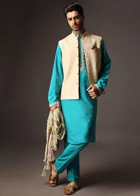 White waistcoat with ferozi or light blue kurta pajama designs 2017 for men in Pakistan