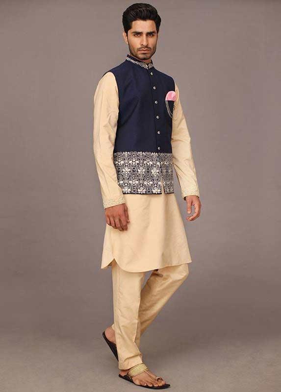 Blue waistcoat with skin kurta pajama designs 2017 for men in Pakistan