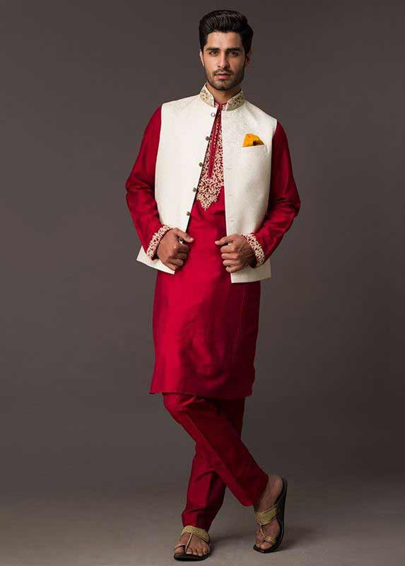 White waistcoat with red kurta pajama designs 2017 for men in Pakistan