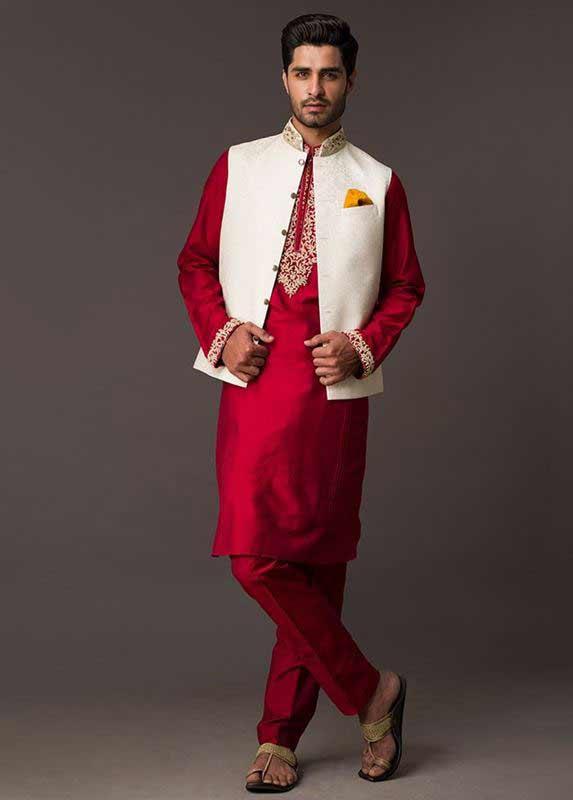 White waistcoat with red kurta pajama designs 2017 for men in Pakistan