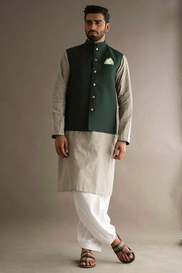 Green waistcoat with kurta pajama designs 2017 for men in Pakistan