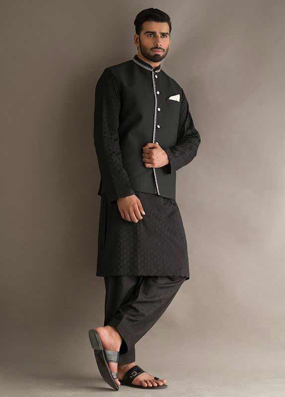 Black waistcoat with black kurta pajama designs 2017 for men in Pakistan
