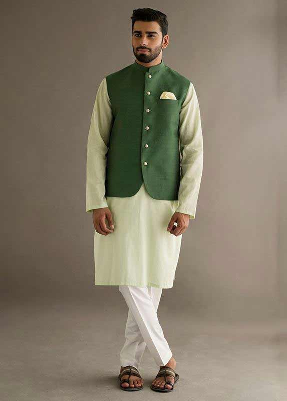 Dark Green waistcoat with lime kurta pajama designs 2017 for men in Pakistan