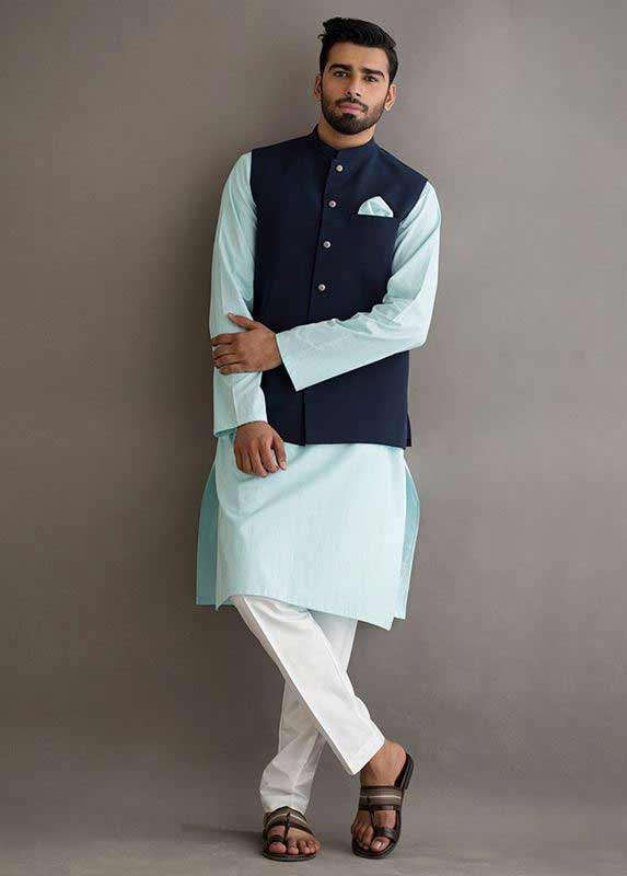Navy blue waistcoat with sky blue and white kurta pajama designs 2017 for men in Pakistan