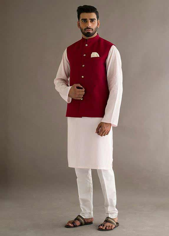 Red waistcoat with white kurta pajama designs 2017 for men in Pakistan