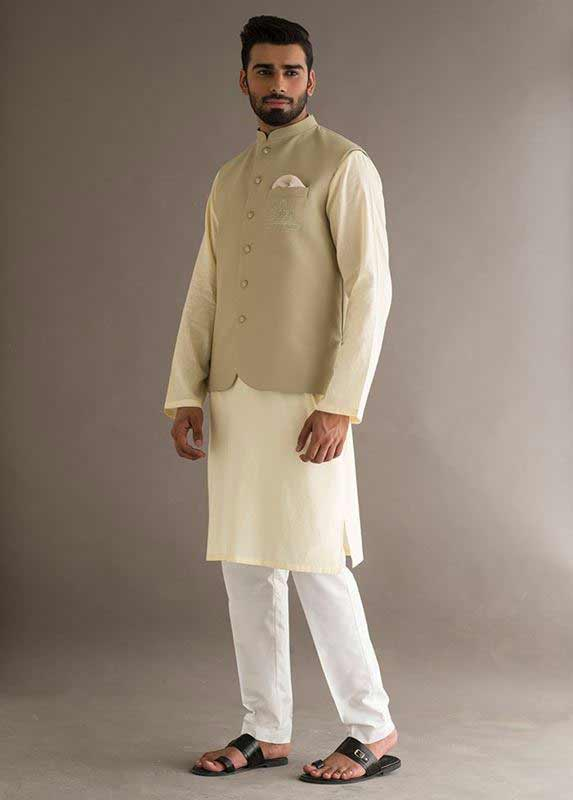 Latest waistcoat with lime kurta pajama designs 2017 for men in Pakistan