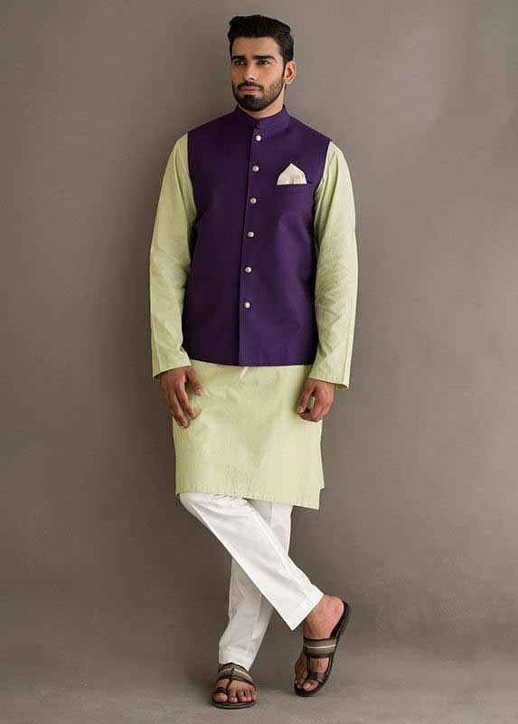 Purple waistcoat with light yellow and white kurta pajama designs 2017 for men in Pakistan