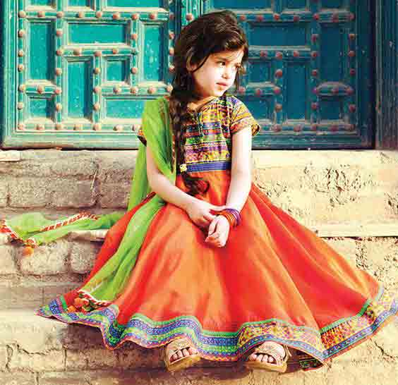 Orange and green pathani dresses for baby girls and baby boys 2018