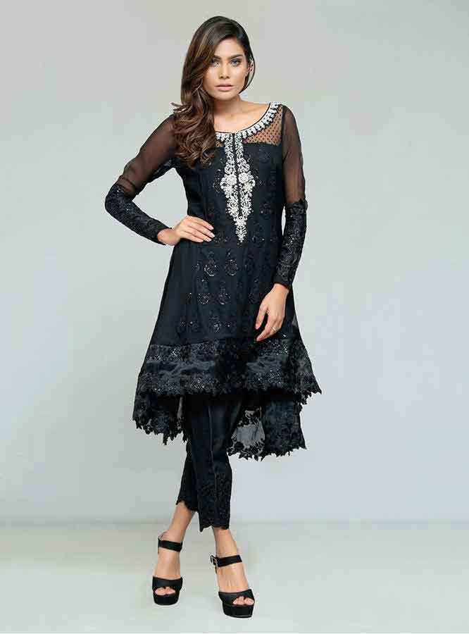 Black party wear short frock designs for girls in Pakistan