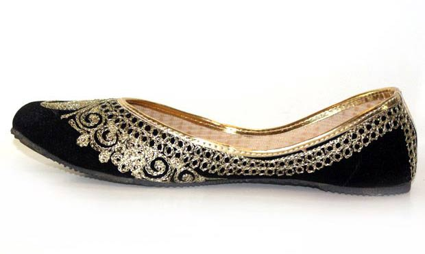 Black party wear fancy khussa shoes designs for girls