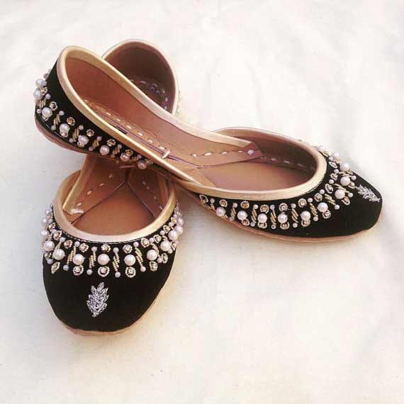 Black fancy khussa shoes designs for girls