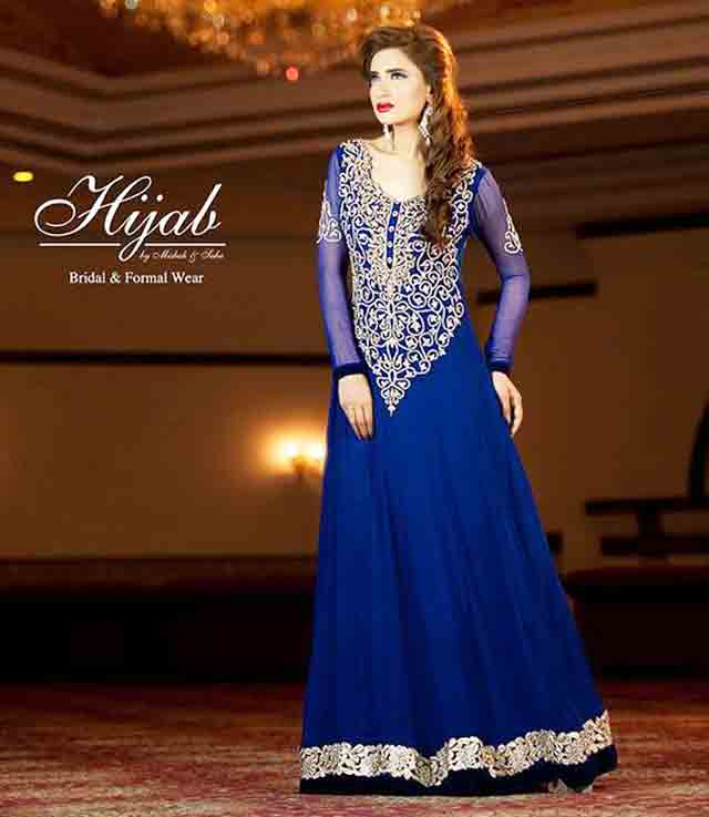Blue party wear long frock designs for girls