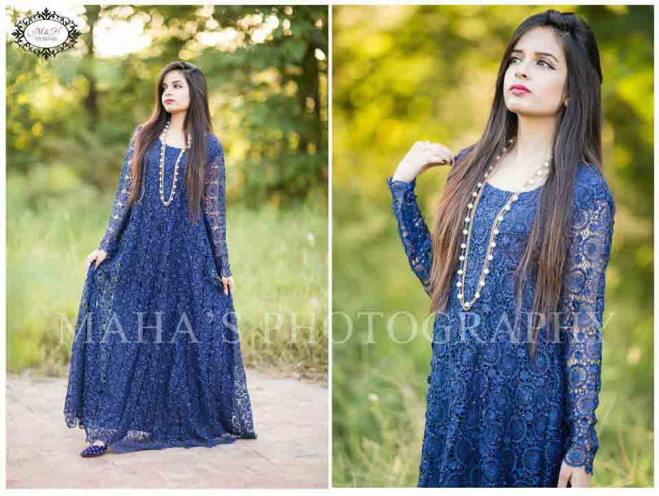 Blue party wear long net frock designs for girls