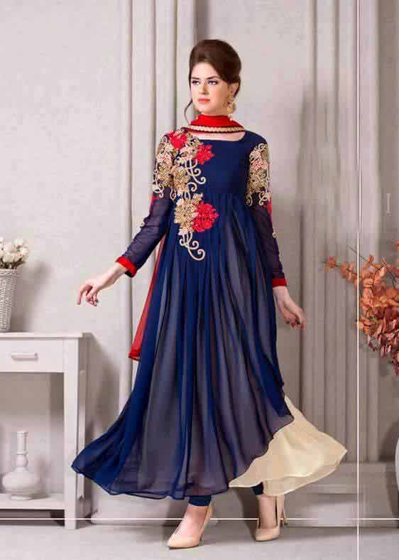 Blue and red party wear frock designs for girls in Pakistan