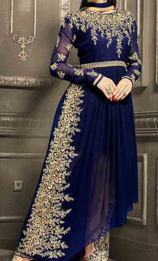 Blue and golden party wear long frock designs for Pakistani girls