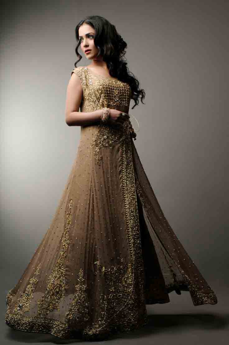 Golden party wear long frock designs for girls