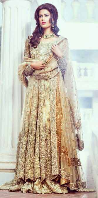 Golden party wear long frock designs for girls in Pakistan