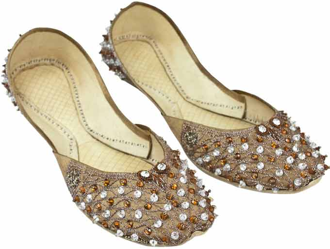 Golden party wear fancy khussa shoes designs for girls
