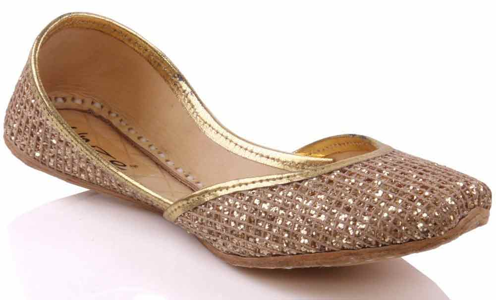 Golden fancy khussa shoes designs for girls