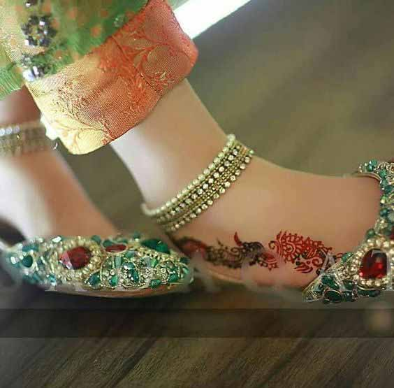 Green party wear fancy khussa shoes designs for girls