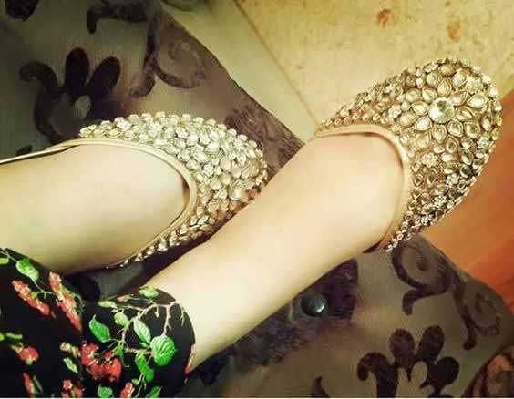 Golden party wear kundan fancy khussa shoes designs for girls