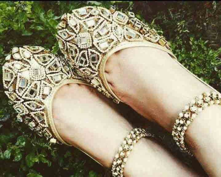 Silver fancy khussa shoes designs for girls