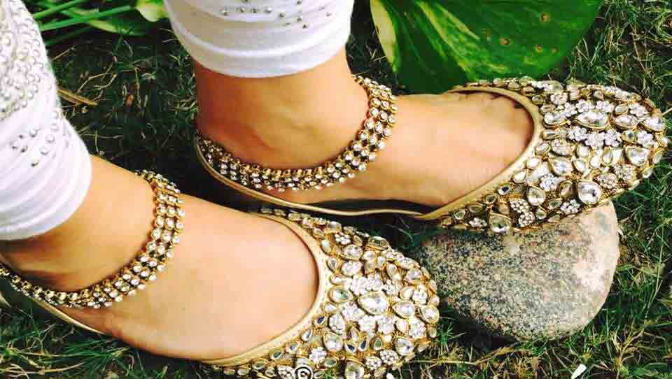 Golden kundan fancy khussa shoes designs for girls