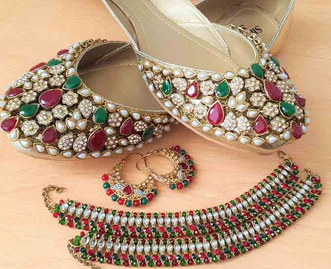 Latest kundan fancy khussa shoes designs for girls
