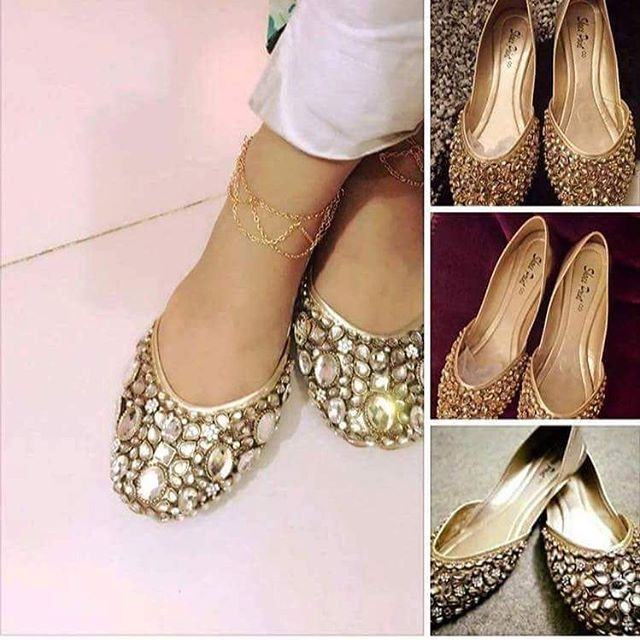 Kundan fancy khussa shoes designs for girls