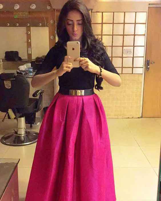 Pakistani pink and black long skirts for girls