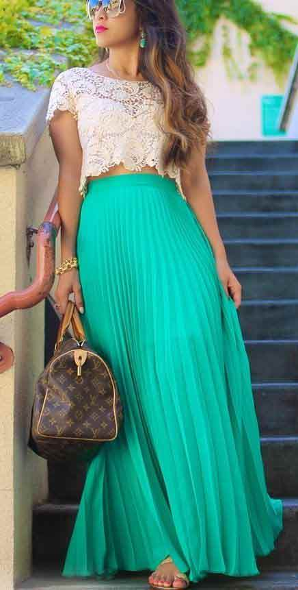Pakistani green long skirt with cropped top for girls