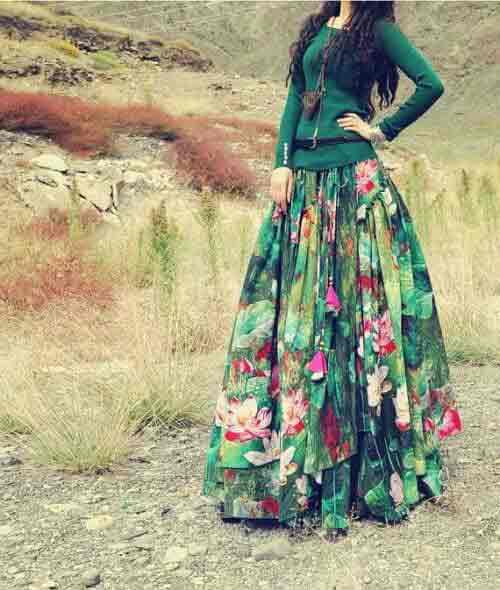 Pakistani casual green floral long skirts for girls