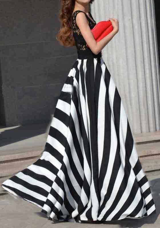 Pakistani black and white striped long skirts for girls