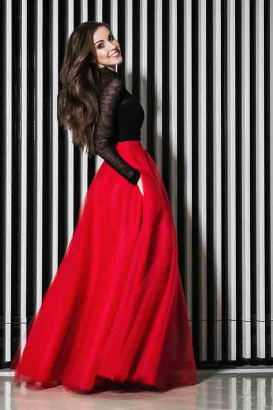 Pakistani red and black long skirts for girls
