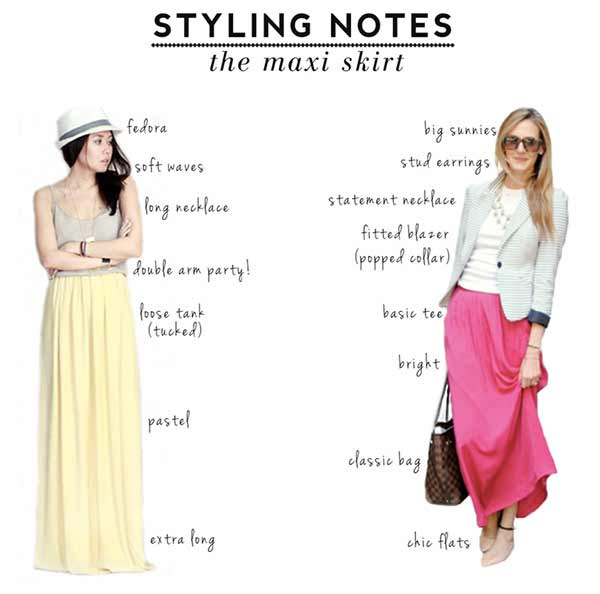 Styling notes on how to style long skirts in Pakistan