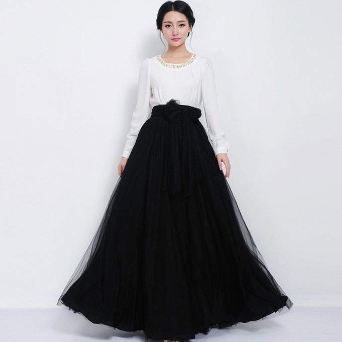 Pakistani black long skirt with white top for girls