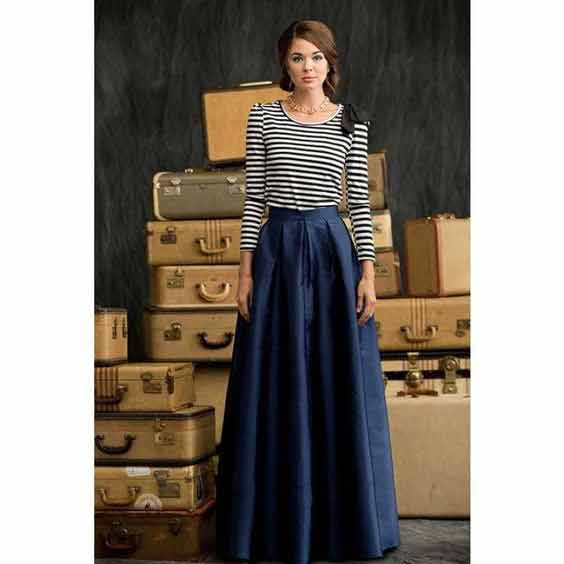Pakistani blue long skirt with striped shirt for girls
