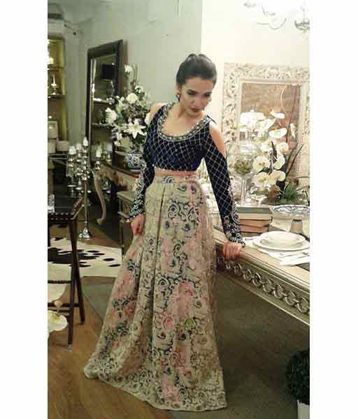 Pakistani floral long skirts with blouse for girls