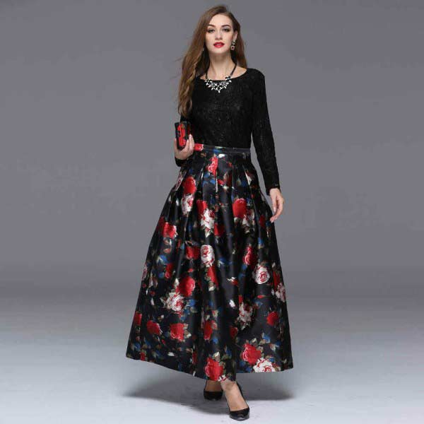 Pakistani red and black digital printed long skirts for girls