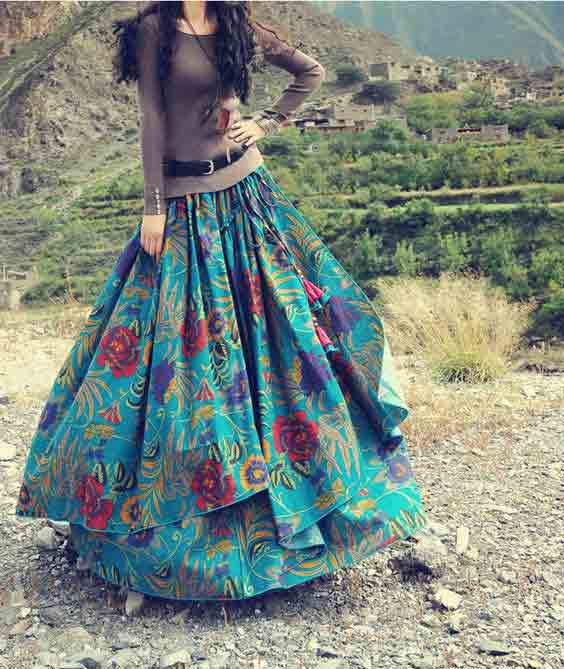Pakistani long skirts with double layer styles for girls