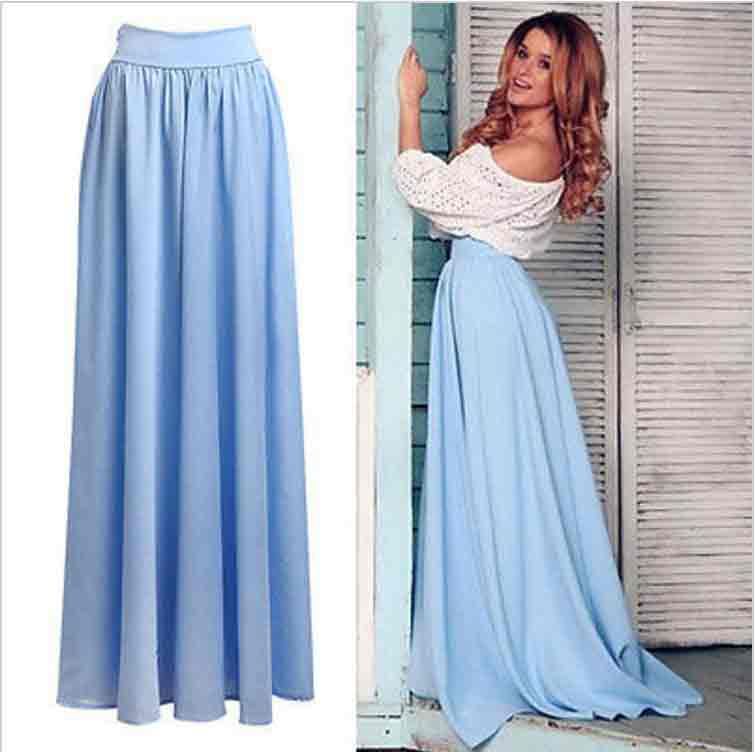 Pakistani sky blue high waist long skirts for girls