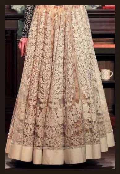 Pakistani beige long skirts in lace for girls