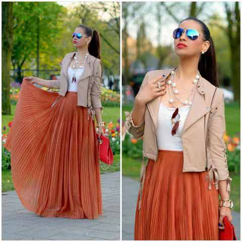 Pakistani pleated style orange long skirts for girls