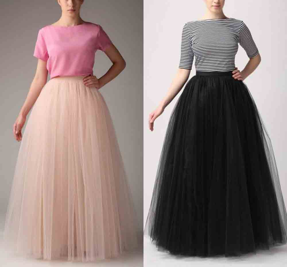 Pakistani black and baby pink puffy style long skirts for girls