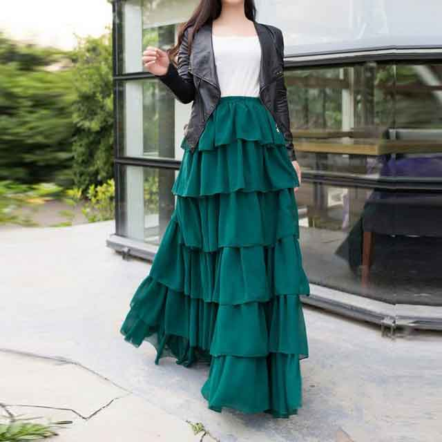 Pakistani green ruffle long skirts for girls